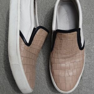 VINCE Leather Slip On Sneakers White Beige 8.5